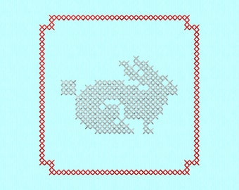 Cross Stitch style Rabbit block Machine Embroidery Design File