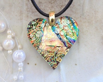 Heart Pendant, Dichroic Pendant, Fused Glass Jewelry, Heart, Necklace, Gold, Necklace Included, One of a Kind, A8