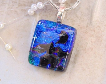 PETITE Necklace, Blue, Black, Glass Pendant, Fused Glass Jewelry, Necklace Included, A12