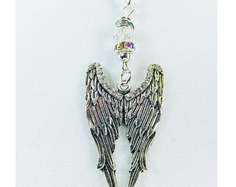 Silvery Pewter Angel Wings Pendant Steampunk Necklace with Cut Glass Crystal Bead and Rhinestone Accents