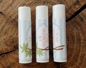 Personalized Lip Balm Stickers -- Palm Tree Stripe -- Custom Chapstick Labels, Shower Favors, Wedding Favors