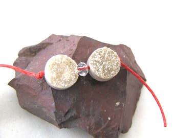 Sparkly Druzy Agate Tab Round Stone Cream Taupe Neutral Fawn Rustic Crusty Rough Organic Earthy Bead Pair