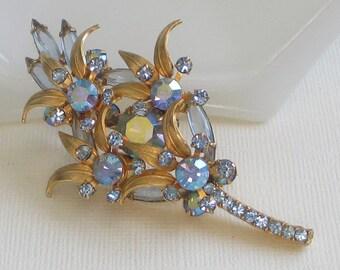 Vintage Juliana Brooch, Blue AB Rhinestone Pin, Rhinestone Brooch, Leaf Pin, Layered Brooch, Bridal Jewelry