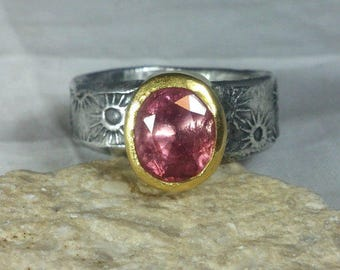 Pink  Tourmaline Ring, Solitaire Ring,   silver and 22 kt gold gemstone  ring,  statement ring