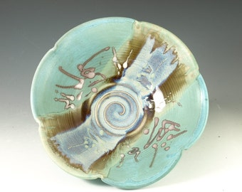 Handmade serving bowl wheel thrown ceramic bowl turquoise blue glaze