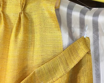 vintage curtains drapes bright golden yellow 6 panels pair of curtains 72 in long x 42 wide 5 pleats 12 yards vintage yellow fabric