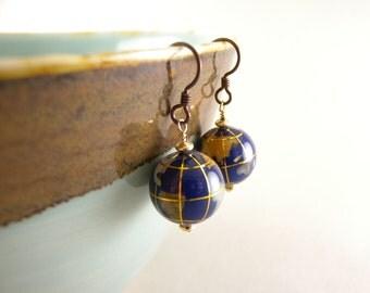 Globe Earth Stone Inlay Earrings with Free USA Shipping