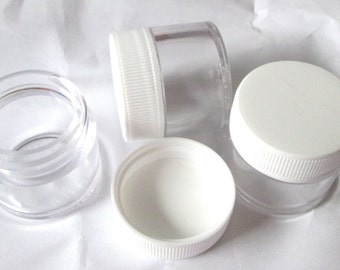 plastic screw top clear jars 0.25 ounce size new destash supplies for crafting and storage 4 per order