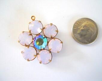 Vintage Swarovski Pink Opal Crystal Flower Pendant