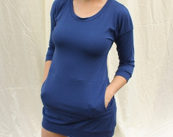 ready to ship / scoop neck pocket dress / bamboo jersey / by replicca / size M / everglade teal