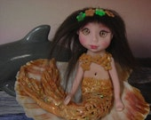 Little mermaid Fairy on shell  OOAK Fantasy Art Doll By Lori Schroeder 211pl