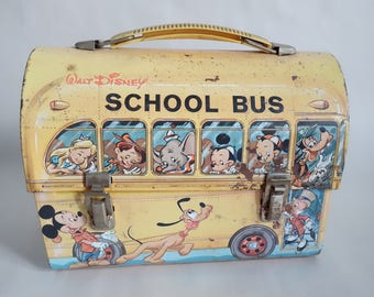 Metal ALADDIN Dome LUNCHBOX Disney School Bus Vintage Collectible Goofy Bus Driver with Loads of Walt Disney Characters Mickey Mouse + Gang