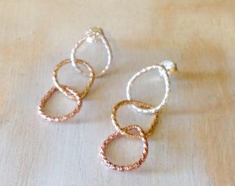 Tricolor Three Teardrop Earrings Sterling Silver, Yellow & Pink Gold Glitter Earrings  Pear Shape Earrings - made to order