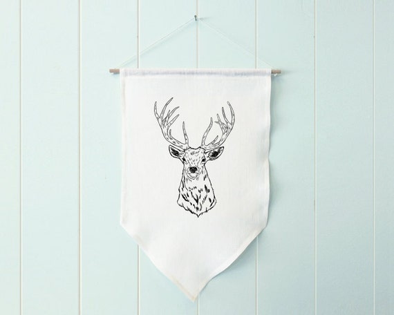 Edward the Elk - wall hanging, banner, fabric banner, farmhouse decor, farmhouse wall decor, woodland nursery, woodland animals, wall art