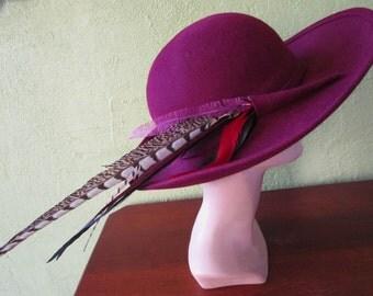 Frank Olive Burgandy Soft Felt Hat Pheasant Plume Custom Church