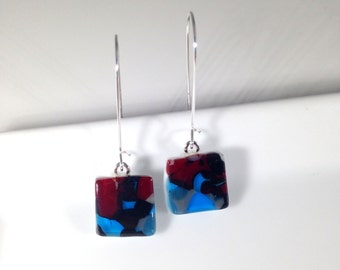 Handmade Sterling Silver Kidney Fused Glass Earrings in Gift Box - black, red and turquoise  - FREE UK SHIPPING