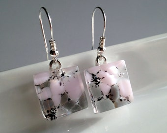 Handmade Sterling Silver Fused Glass Earrings in Gift Box - rose pink and grey  - FREE UK SHIPPING
