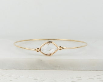 Crystal Gold Bangle, April Birthstone Gold Bangle, April Birthstone Gold Bracelet, Clear Bangle Bracelet, April Birthstone Bracelet