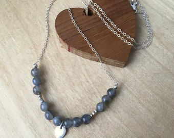 Labradorite and Lotus Necklace - Sterling Silver