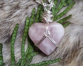 Rose Quartz Heart Necklace/Wire Wrapped Gemstone Talisman/Love Stone Amulet/Heart Stone Healing Jewelry/Natural Pink Rose Crystals