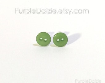Green Buttons Post Earrings Kawaii Stud Earrings Button Rich Color No Metal Acrylic Plastic Posts Hypoallergenic Sensitive Ears Nickel Free