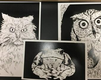 3 Mad Animals Print Set