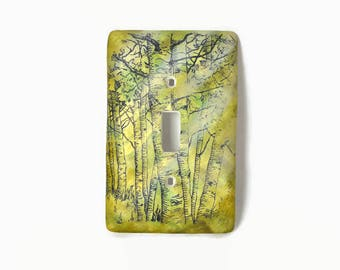 Nature Switch Cover, Birch Tree Switch Plate, Single Light Switch Plate, Nature Art, Light Switch Cover, Wall Art, Tree Art