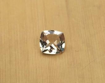 Natural Genuine Morganite - ONE Square Cushion shape Tan Morganite Loose Gemstone averaging 7mm, 1.08 carats minimum - LSG1022