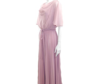 Vintage 70s Beaded Chiffon gown // Dirty Pink Formal Long Dress w/ Sheer Top & Beading // 1970s Retro Party Dress// Size S/M // 139