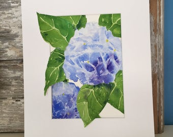 Painting of a Blue  Hydrangea-Collage-Floral-Watercolor Painting-Hydrangea Painting-Flowers