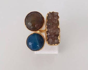 Triple Gold plated druzy and   blue agate ring