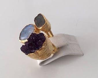 Triple Gold plated  Moonstone, Jasper and  Amethyst  ring