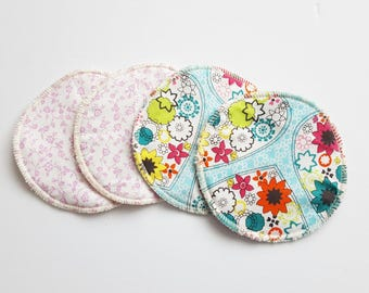 2 sets of Postpartum Nursing Pads .. Pretty Cotton and Organic Bamboo Velour FREE Shipping