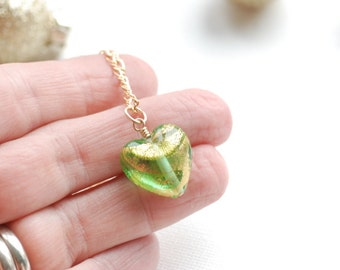 Heart Necklace, Gold Necklace, Green Heart Necklace,  Gold Foiled Glass Heart, Romantic Jewelry, Girlfriend Gift, Girly Jewelry, Gold Filled