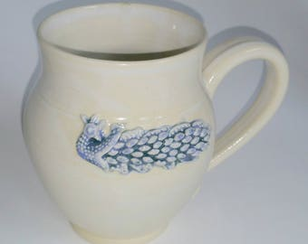 White 16-18 oz Pottery Mug with Blue Speckled Peacock Applique - Wheel Thrown and Altered Pottery - Made by Jolene
