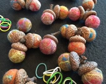 12 SUPER BABY Wet Felt Balls with 12 Acorn tops from North East Ohio