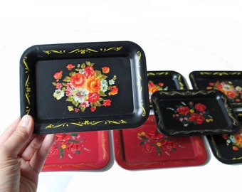Set of 8 vintage decorative black and red tin metal trays with flowers - snack trays, home accent
