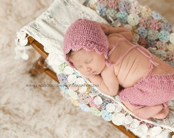 Baby Hat & Skirt, Knitted Baby Hats,  Newborn Photo Props - U Choose Color Size