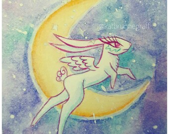 Kawaii Usagi Rabbit mini Watercolor painting Sailor moon