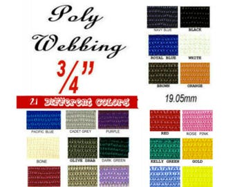 "10 Yards - 3/4"" - POLY Webbing, .75, Medium Weight, Strap, You Choose Colors"