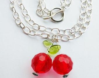 cherry necklace - statement cherry necklace - silver cherry necklace -  rockabilly necklace - fruit necklace - fruit jewelery