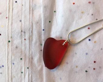 Heart shaped deep RED beachglass pendant, seaglass inspired vintage glass.  sea glass heart necklace.