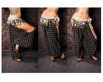 Belly Dance Harem Pants, cut out leg. Carnival performer costume, Gypsy pants, tribal fusion, Summer loose pants, wide leg, clown bloomers