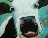Cow painting 1165 20x20 inch animal original oil painting by Roz