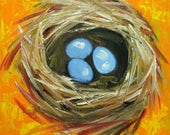 Nest painting 307 12x12 inch original bird nest portrait oil painting by Roz