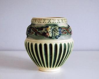 Roseville Corinthian Vase, 1920s Art Pottery Vase, Fine Art Ceramics, Green Ivory Stripes, Grape Leaves, Cottage Chic Decor, Wedding Gift