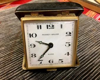 Vintage Phinney Walker Travel Alarm Clock with Black Leather Case