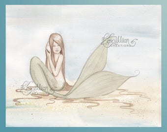 Hear the Ocean Mermaid & Shell Original Watercolor Painting by Camille Grimshaw