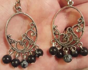 Snowflake obsidian chandelier earrings