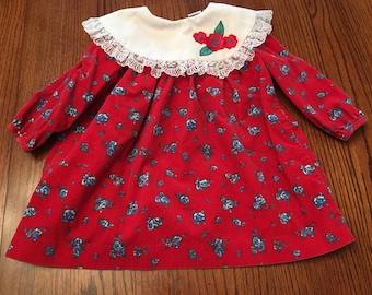 Floral Corduroy Dress 3T